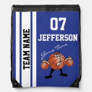 Basketball Personalize Team Dark Blue Drawstring Bag