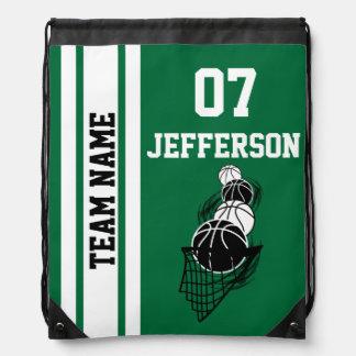 Basketball Personalize Team | Dark Green Drawstring Bag