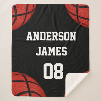 Basketball Personalized  with name and number Sherpa Blanket