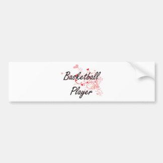 Basketball Player Artistic Job Design with Hearts Bumper Sticker