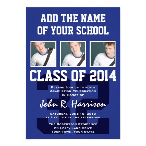 Basketball Player Class of 2014 Graduation Party Personalized Invite