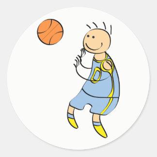 Basketball player classic round sticker
