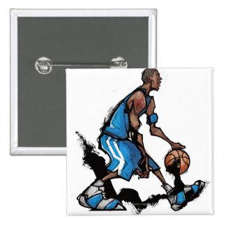 Basketball player dribbling ball 15 cm square badge