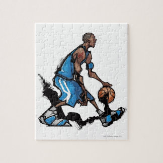 Basketball player dribbling ball jigsaw puzzle