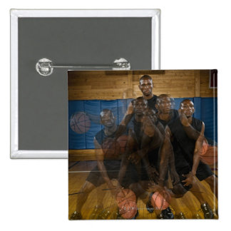 Basketball player dribbling ball on court 15 cm square badge