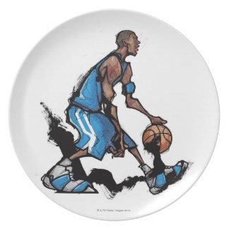 Basketball player dribbling ball plate