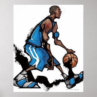 Basketball player dribbling ball poster