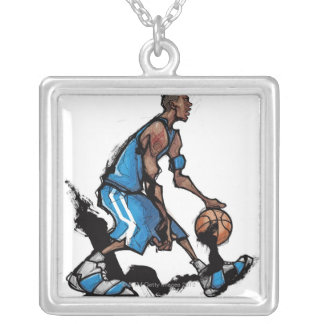 Basketball player dribbling ball silver plated necklace
