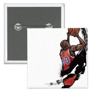 Basketball player holding ball 15 cm square badge