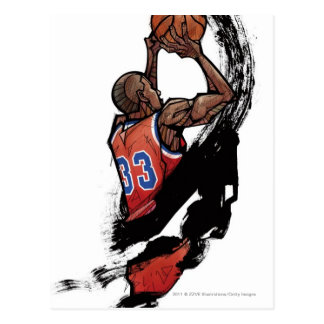 Basketball player holding ball postcard