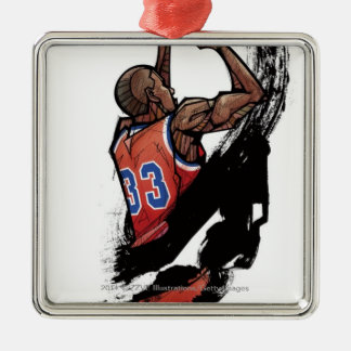 Basketball player holding ball Silver-Colored square decoration