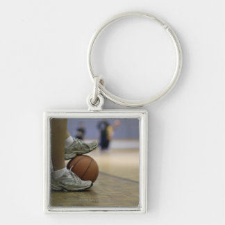 Basketball player holding ball with feet key ring