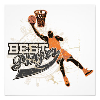 Basketball Player Orange and Gray Personalized Invite