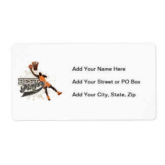 Basketball Player Orange and Gray Shipping Label