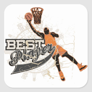 Basketball Player Orange and Gray Sticker