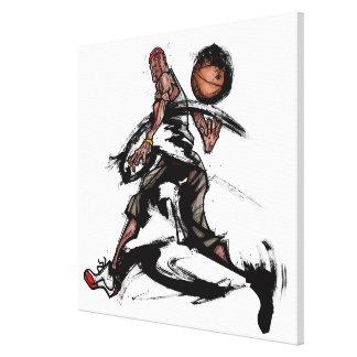 Basketball player playing with basketball canvas print
