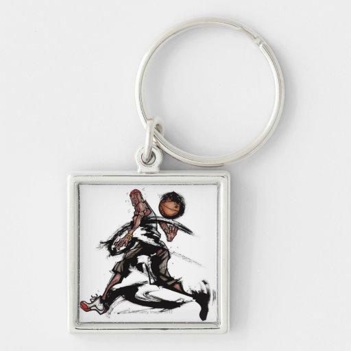 Basketball player playing with basketball keychain