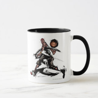 Basketball player playing with basketball mug