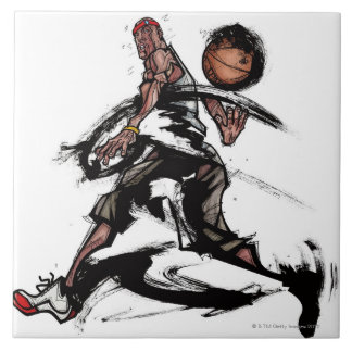 Basketball player playing with basketball tile