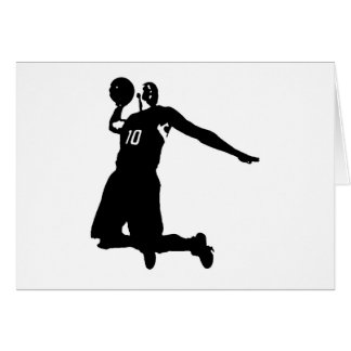 Basketball Player Silhouette Greeting Cards
