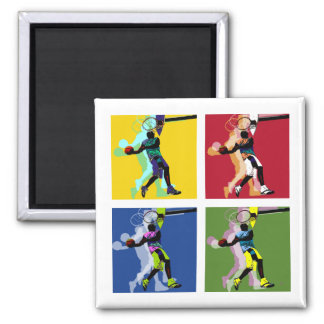 Basketball player square magnet