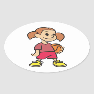 Basketball Player Oval Stickers