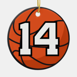 Basketball Player Uniform Number 14 Gift Idea Christmas Ornament