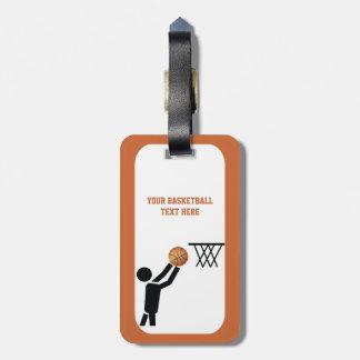 Basketball player with ball custom luggage tag