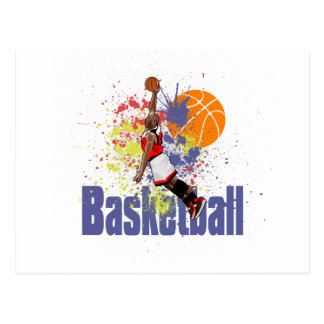Basketball Player With Paint Splashes Post Cards
