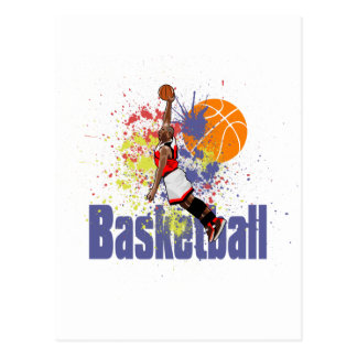 Basketball Player With Paint Splashes Postcard