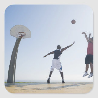Basketball players 3 square sticker