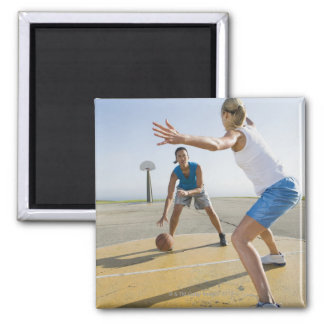 Basketball players 6 square magnet