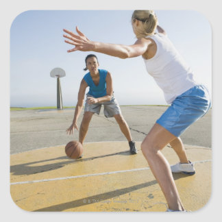 Basketball players 6 square sticker