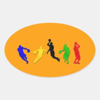 Basketball players hoops   basketball oval sticker