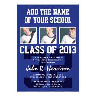 Basketball Player's Sports Graduation Shirt Number Personalized Invitations