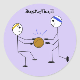 Basketball Players Round Stickers