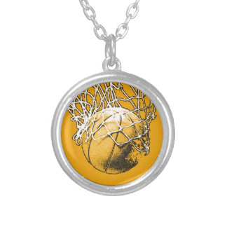 Basketball Pop Art Silver Plated Necklace
