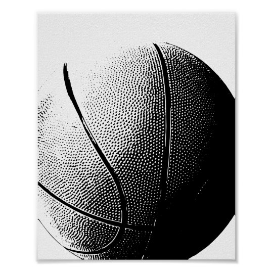 Basketball Poster Black White Sports Print
