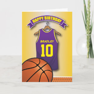 ff99816cf Basketball Purple Jersey Sports Custom Birthday Card