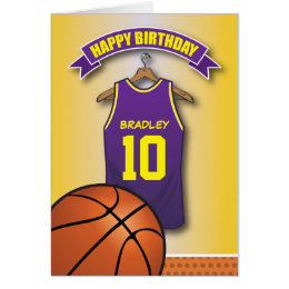 Basketball birthday cards invitations zazzle basketball purple jersey sports custom birthday card bookmarktalkfo Image collections