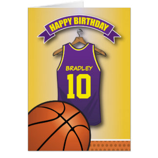 Basketball Purple Jersey Sports Custom Birthday Card