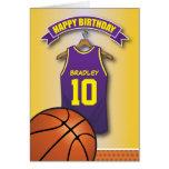 Basketball Purple Jersey Sports Custom Birthday Greeting Card
