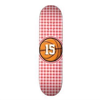 Basketball; Red and White Gingham Skateboard Decks
