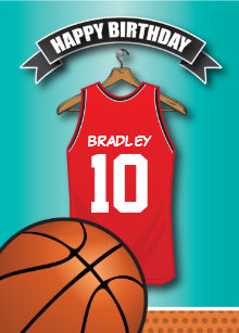 9f2eeeb6a Basketball Red Jersey Sports Custom Birthday Card