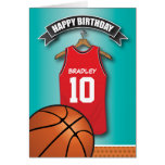 Basketball Red Jersey Sports Custom Birthday Greeting Card