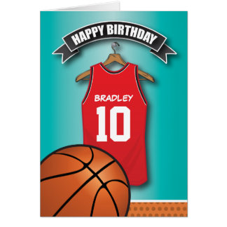 Basketball Red Jersey Sports Custom Birthday Greeting Card