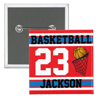 Basketball Red, White & Blue | DIY Text 15 Cm Square Badge
