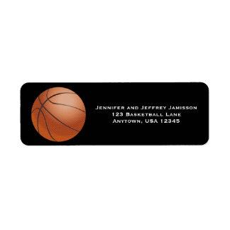 Basketball Return Address Labels on Black
