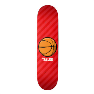 Basketball; Scarlet Red Stripes Skate Deck