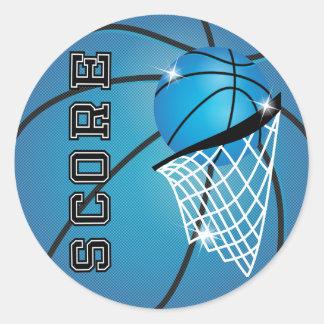 Basketball Score in Blue Round Sticker
